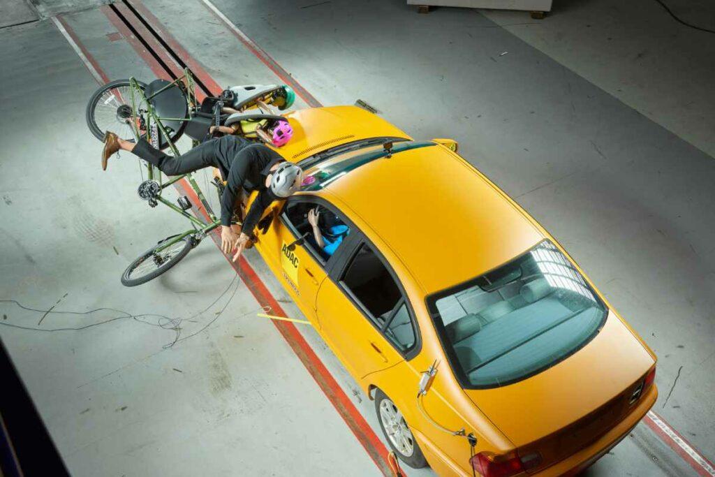 """Das Lastenrad """"Backpacker"""" beim Crashtest."""